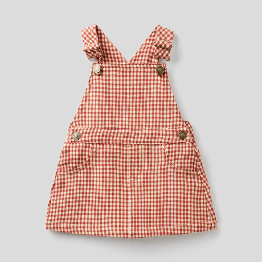 Check dungaree skirt