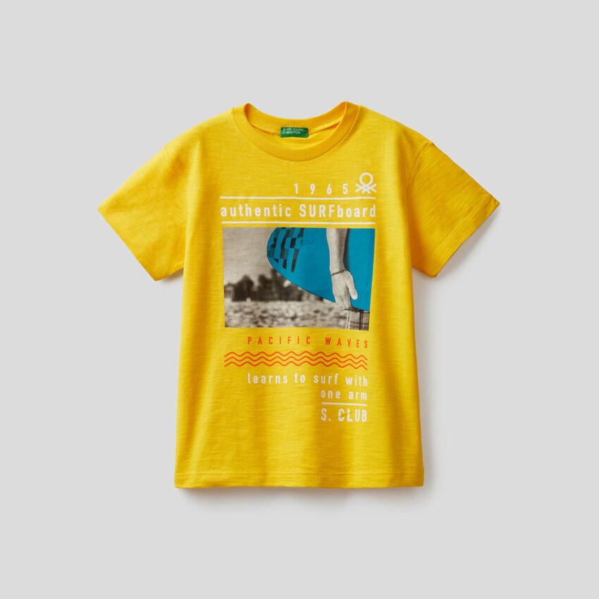 Cotton t-shirt with surf print