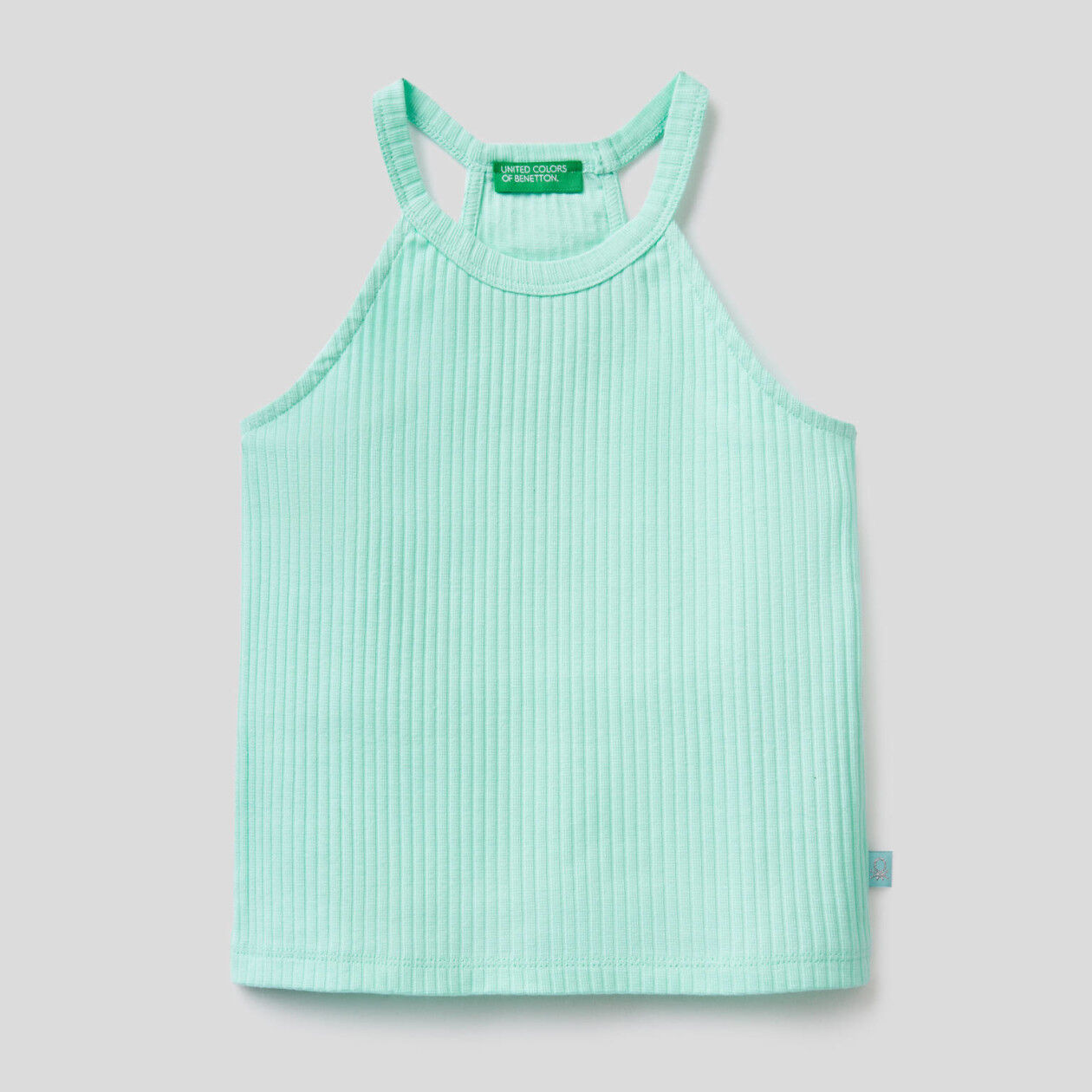 Sleeveless top in stretch cotton