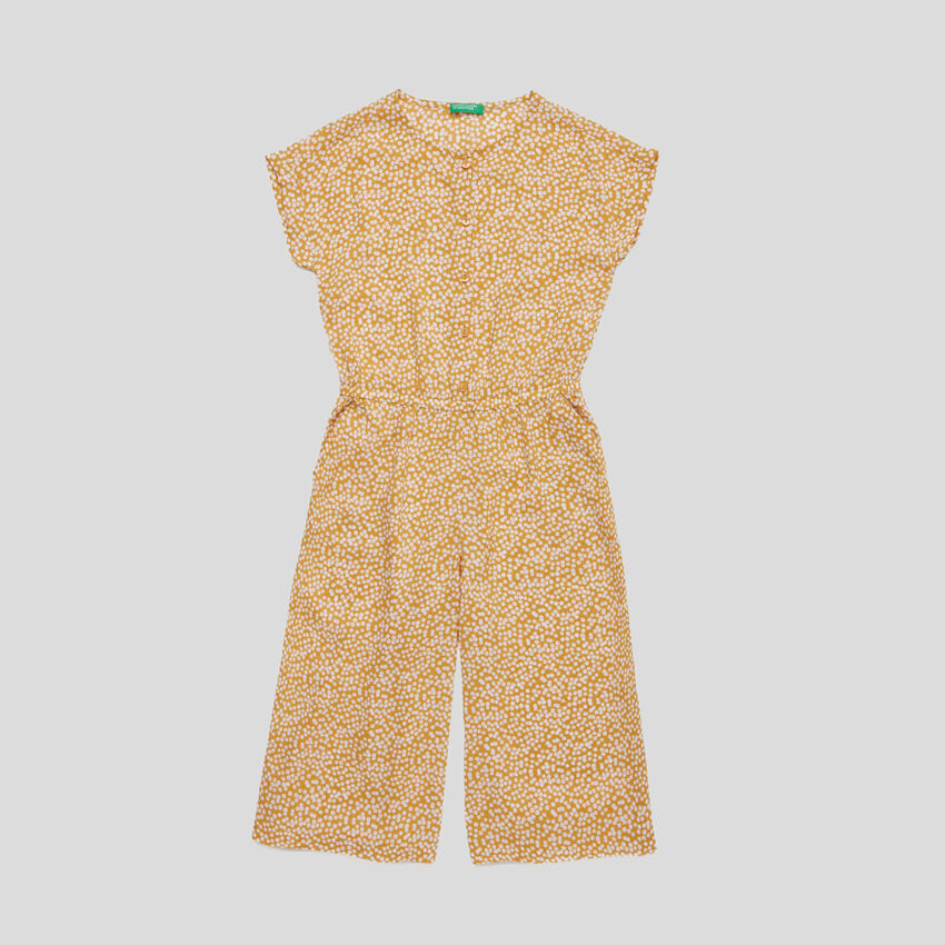3/4 jumpsuit with allover print