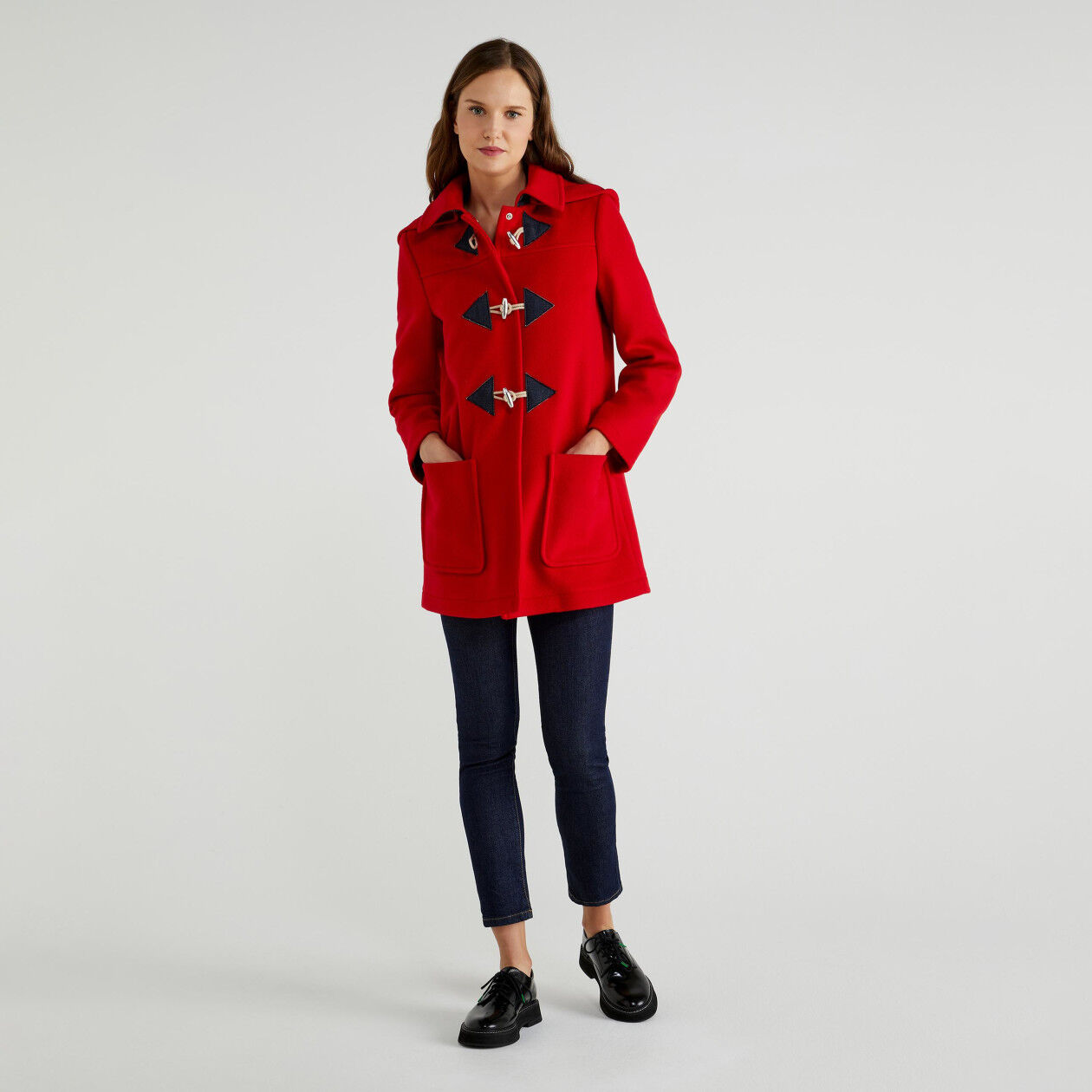 Duffel coat with removable hood
