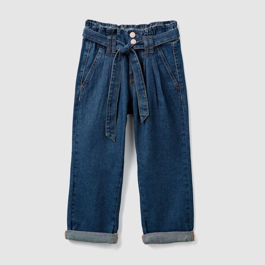 High-waisted denim pants