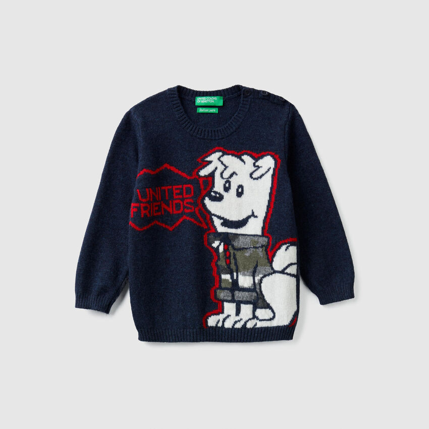 Tricot sweater with inlay