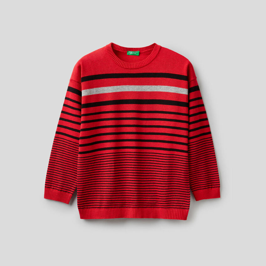 Striped sweater in wool and cotton blend