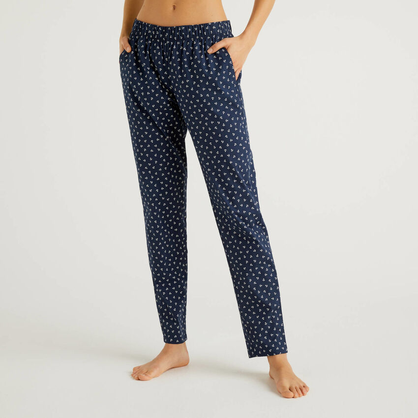 Patterned trousers in pure cotton