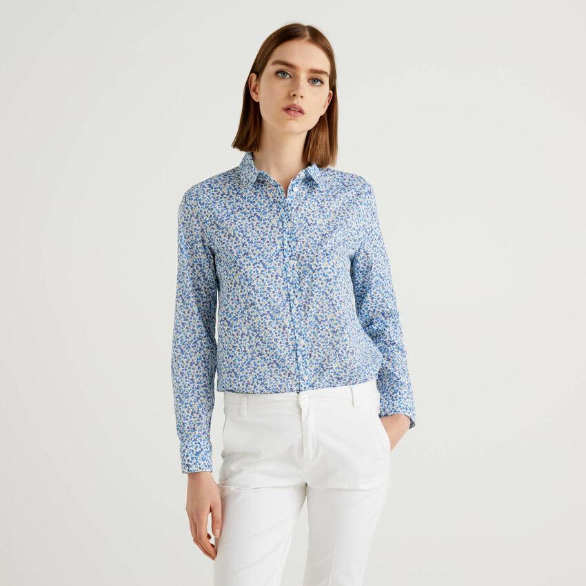 100% cotton light blue shirt with floral print